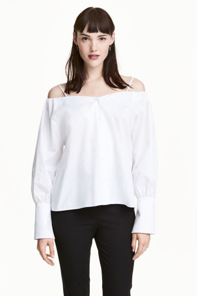 Off-the-shoulder blouse - White -  | H&M CN