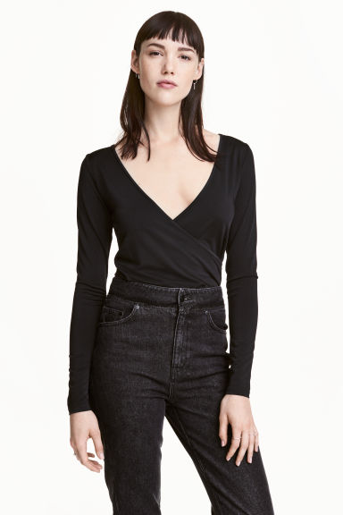 Wrapover top - Black - Ladies | H&M 1