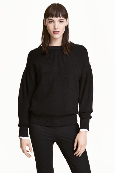 Rib-knit jumper - Black - Ladies | H&M 1