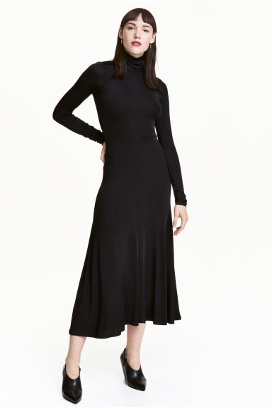 Long polo-neck dress - Black - Ladies | H&M CN