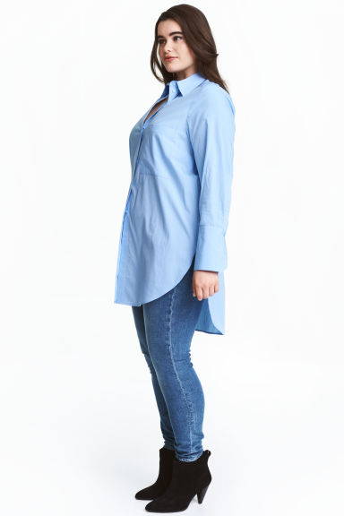 H&M+ Cotton poplin shirt - Light blue - Ladies | H&M 1