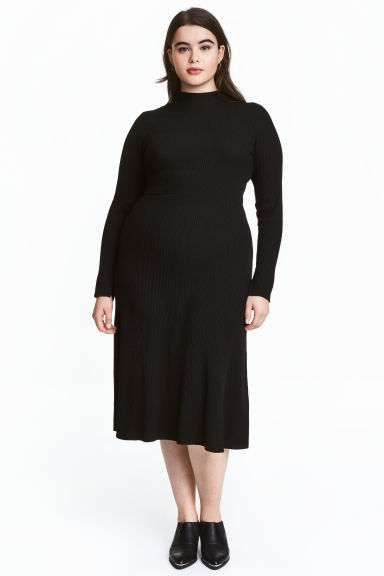 H&M+ Rib-knit dress - Black - Ladies | H&M CN 1