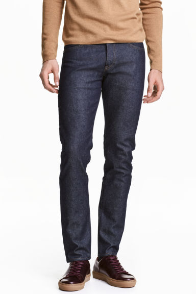 Slim Low Jeans - Dark denim blue/Raw - Men | H&M 1