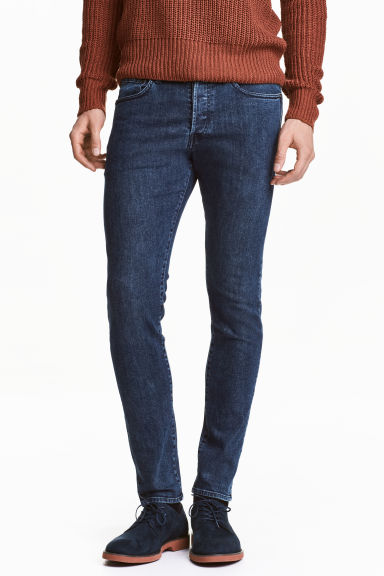 Skinny Low Jeans - Dark blue washed out - Men | H&M