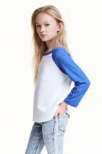 Long-sleeved jersey top - Cornflower blue - Kids | H&M CN 1