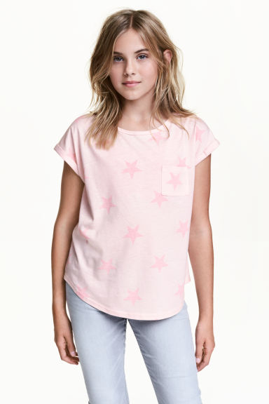 Jersey top - Light pink/Stars - Kids | H&M CN 1