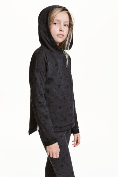 Marled hooded top - Nearly black/Stars -  | H&M 1