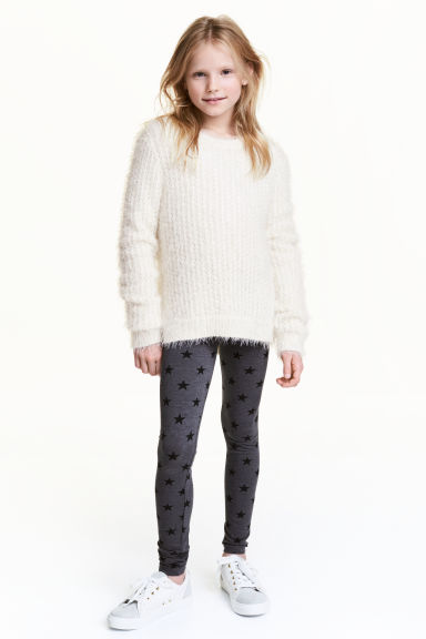 Jersey leggings - Dark grey/Star - Kids | H&M CN 1