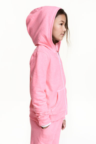 Hooded jacket - Neon pink marl -  | H&M CN 1