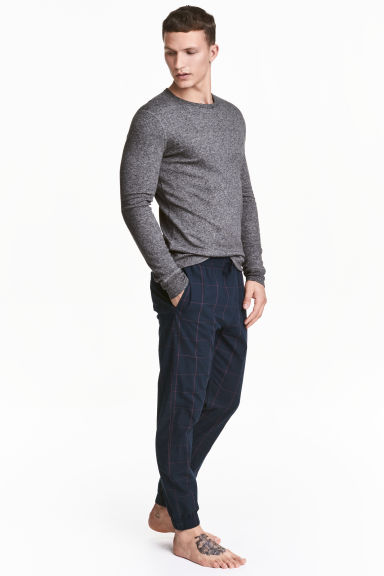 Cotton pyjama bottoms - Dark blue/Checked - Men | H&M 1