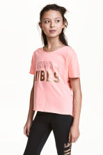 Sports top - Light neon pink marl - Kids | H&M CN 1