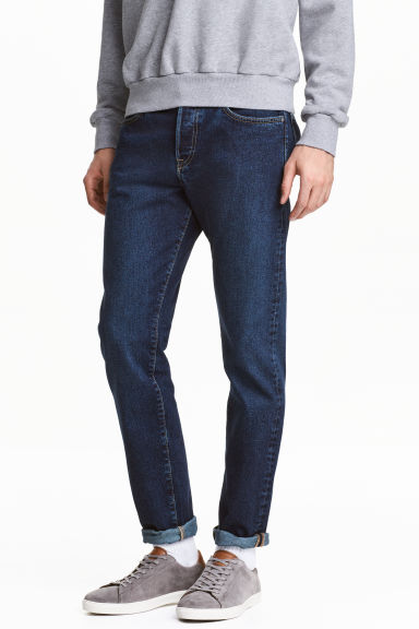 Slim Regular Tapered Jeans - 深牛仔蓝 - 男士 | H&M CN 1