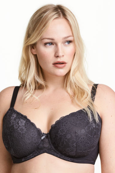 Padded underwired bra E/F cup - Dark grey - Ladies | H&M