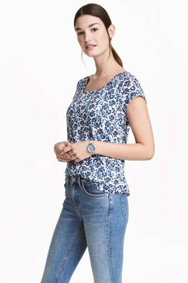 MAMA哺乳上衣 - White/Blue/Floral - Ladies | H&M