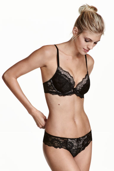 Lace Brazilian briefs - Black/Light beige - Ladies | H&M 1