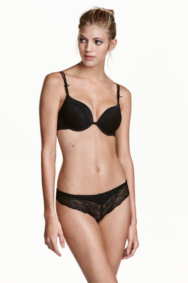 Lace Brazilian briefs - 黑色 - Ladies | H&M CN
