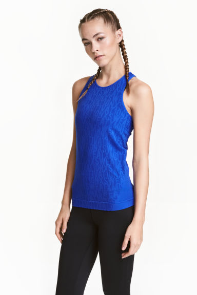 Seamless running vest - Blue - Ladies | H&M CN 1