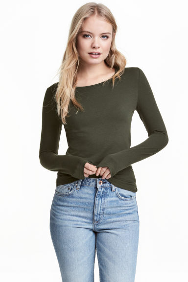 長袖平紋上衣 - Khaki green - Ladies | H&M 1