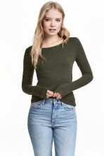 Long-sleeved jersey top - Khaki green - Ladies | H&M CN 1