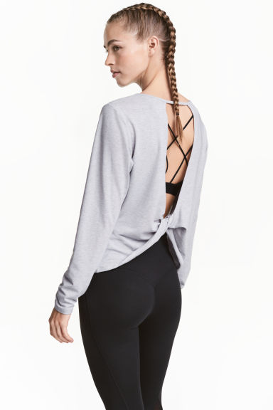 Long-sleeved yoga top - Light grey marl - Ladies | H&M 1