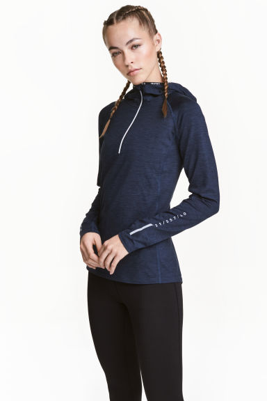 Hooded winter running top - Dark blue marl - Ladies | H&M CN 1