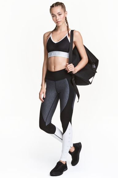 Sports tights - Grey/Black/White - Ladies | H&M CN 1
