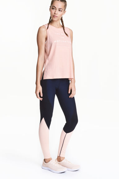 Sports tights - Dark blue/Powder - Ladies | H&M 1