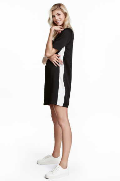 Short dress - Black/White - Ladies | H&M CA 1