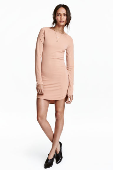 Crêpe jersey dress - Powder beige - Ladies | H&M 1