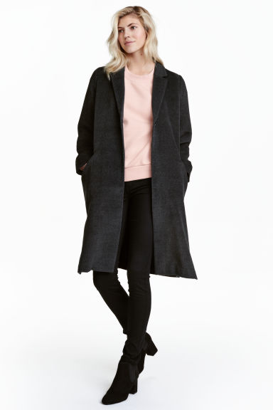Felted coat - Dark grey - Ladies | H&M CN 1