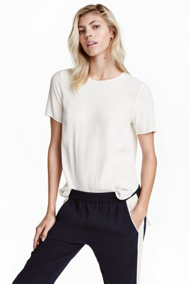 Short-sleeved top - White - Ladies | H&M GB 1