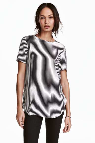 Short-sleeved top - White/Black striped -  | H&M 1