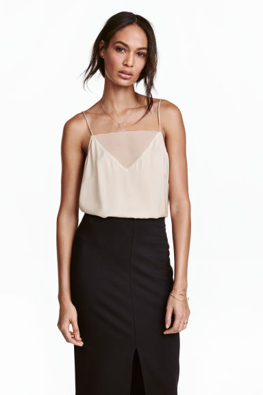 Strappy top with mesh detail - Light beige - Ladies | H&M 1