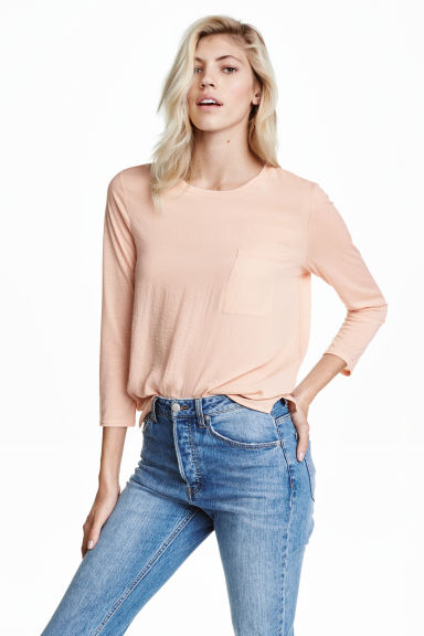 Top with a woven front - Powder - Ladies | H&M