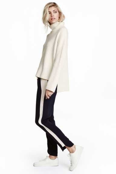 Pull-on trousers - Dark blue/White - Ladies | H&M