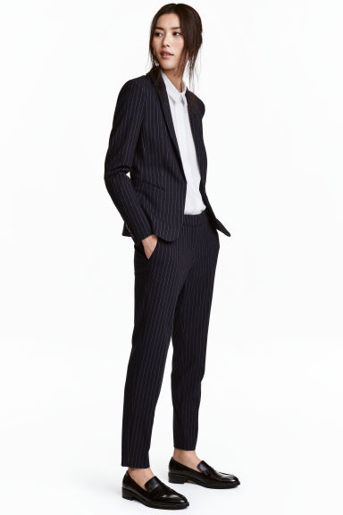 Suit trousers - Dark blue/Pinstriped -  | H&M
