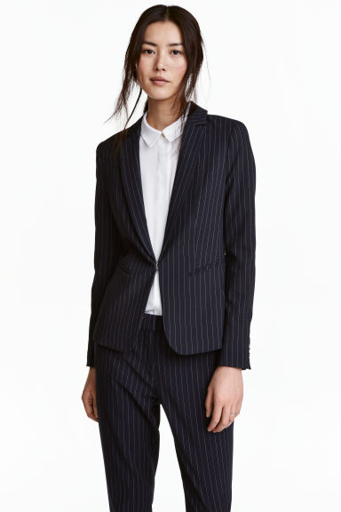 Fitted jacket - Dark blue/Pinstriped - Ladies | H&M GB 1