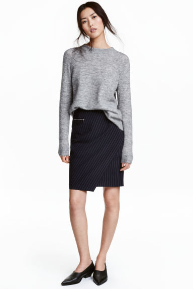 Pinstripe skirt - Dark blue/Pinstriped - Ladies | H&M 1