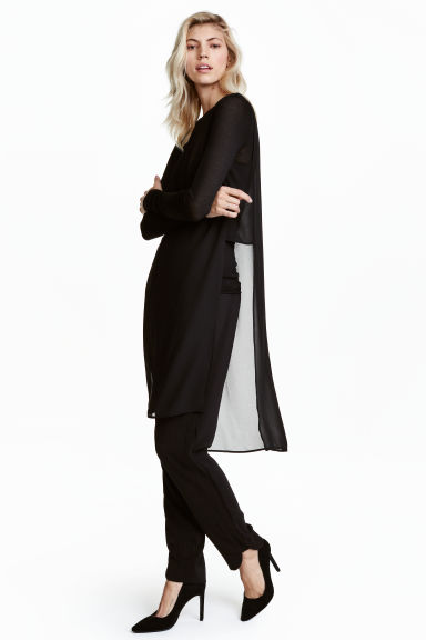 Crêpe tunic - Black - Ladies | H&M