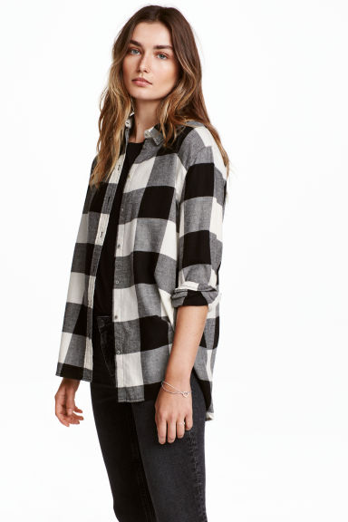 法蘭絨襯衫 - Black/Checked - Ladies | H&M 1