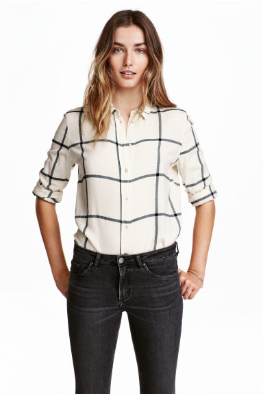 Flannel shirt - Natural white/Checke - Ladies | H&M CN 1