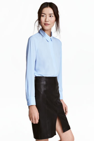 Long-sleeved blouse - Light blue - Ladies | H&M 1
