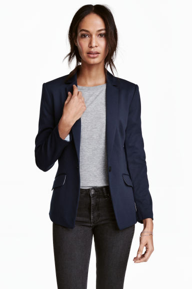 Single-button jersey jacket - Dark blue - Ladies | H&M 1