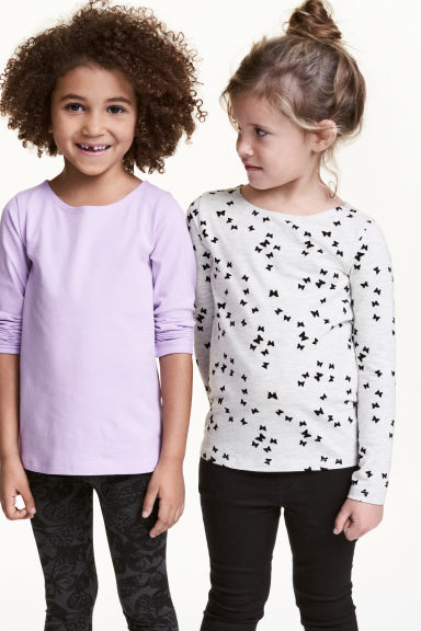 2-pack long-sleeved tops - Light purple - Kids | H&M 1