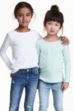 2-pack long-sleeved tops - Mint green/Heart - Kids | H&M 1