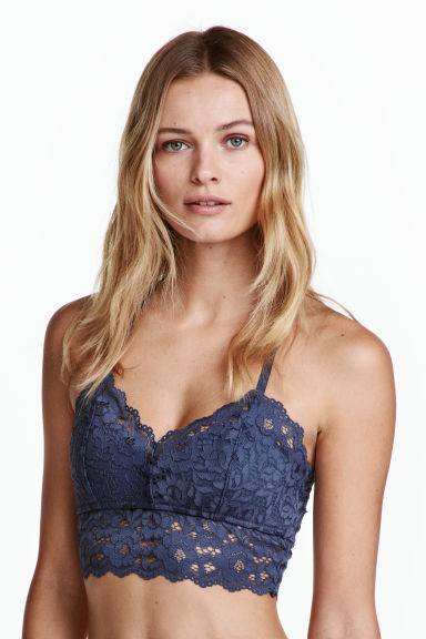 Lace bralette - Pigeon blue - Ladies | H&M CN 1