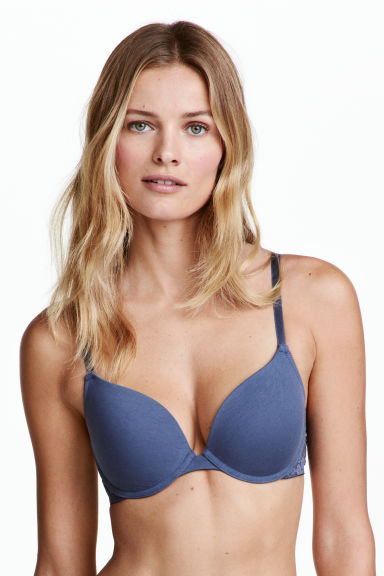 2-pack push-up bras - Pigeon blue/White - Ladies | H&M