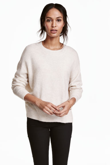 Oversized jumper - Light beige marl - Ladies | H&M 1