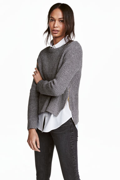 Knitted jumper - Black/White marl - Ladies | H&M 1