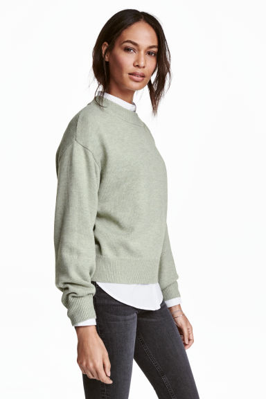 Knitted jumper - Light green marl - Ladies | H&M CN 1